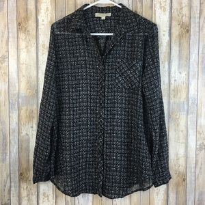 Olive & Oak Button Down Sheer Top Pre-owned